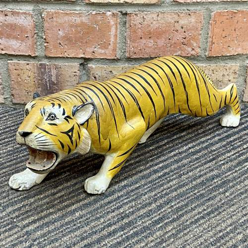 Early 20th Century French Hand Carved Wooden Tiger image-1