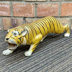Early 20th Century French Hand Carved Wooden Tiger