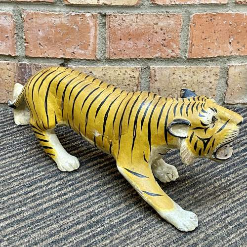 Early 20th Century French Hand Carved Wooden Tiger image-2