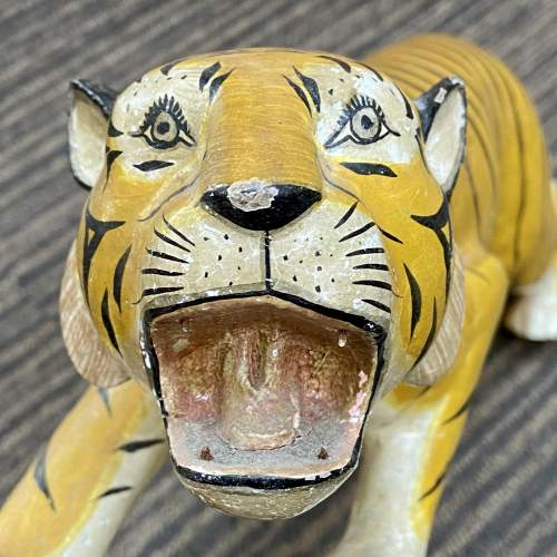 Early 20th Century French Hand Carved Wooden Tiger image-4