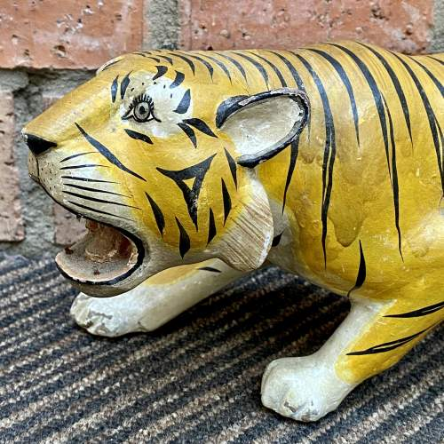 Early 20th Century French Hand Carved Wooden Tiger image-3