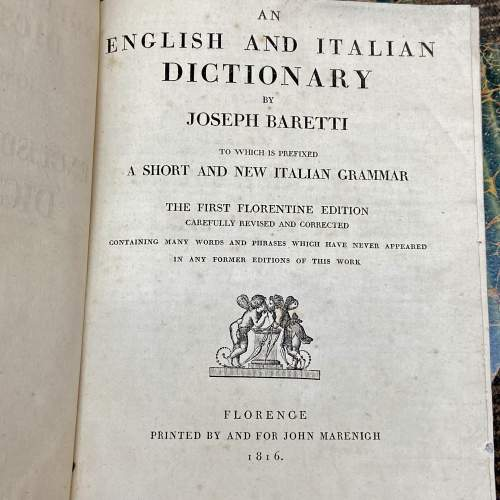 An English and Italian Dictionary - Two Volumes by Joseph Baretti image-4
