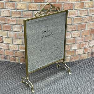 Art Nouveau Brass Framed Crystal Glass Fire Screen