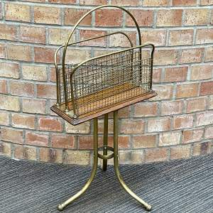 20th Century Brass and Oak Revolving Newspaper Rack