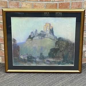 Sunrise at Corfe Castle by Leonard Richmond - Original Pastel
