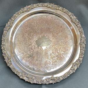 Early 20th Century Large Circular Silver Plated Tray