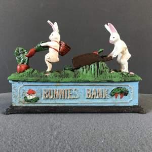 Cast Iron Mechanical Bunnies Bank