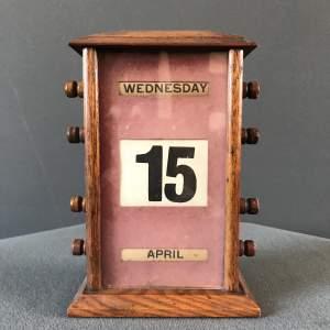 1920s Vintage Perpetual Oak Desk Calendar