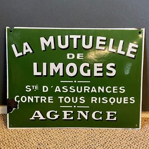 La Mutuelle De Limoges Enamel Sign image-1