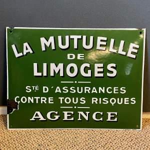 La Mutuelle De Limoges Enamel Sign