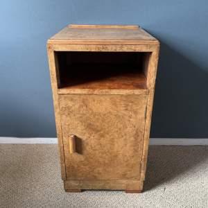 Art Deco Burr Walnut and Birds Eye Maple Bedside Cabinet