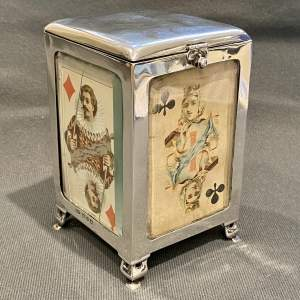 19th Century Silver Playing Card Box