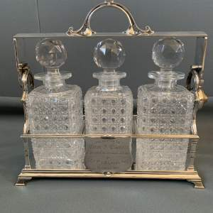 Victorian Silver Plated Three Bottle Tantalus on a Rectangular Base - Military Interest