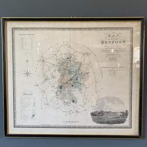 Framed 19th Century Map of Bedfordshire