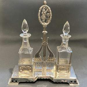 Unusual Silver Oil and Vinegar Bottle Stand