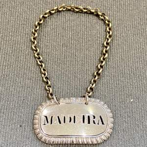 Rare Early 19th Century Sterling Silver Madeira Decanter Label