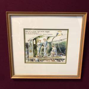 Original Watercolour and Pen Steam Engine Painting By Anthony Bateman
