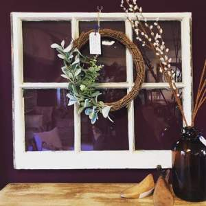 100 Year Old Sash Window with Wreath