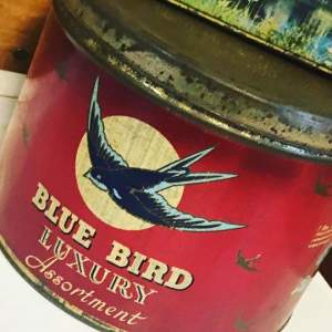 Large Vintage Collectors Blue Bird Assortment Chocolate Tin