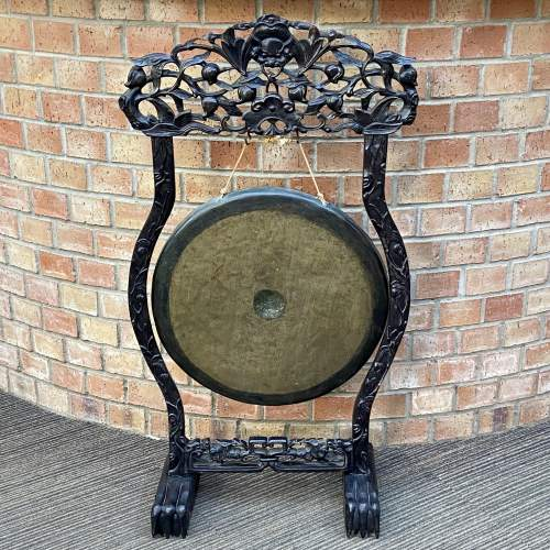 Antique Chinese Gong with Carved Hardwood Stand image-1