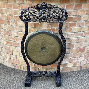 Antique Chinese Gong with Carved Hardwood Stand