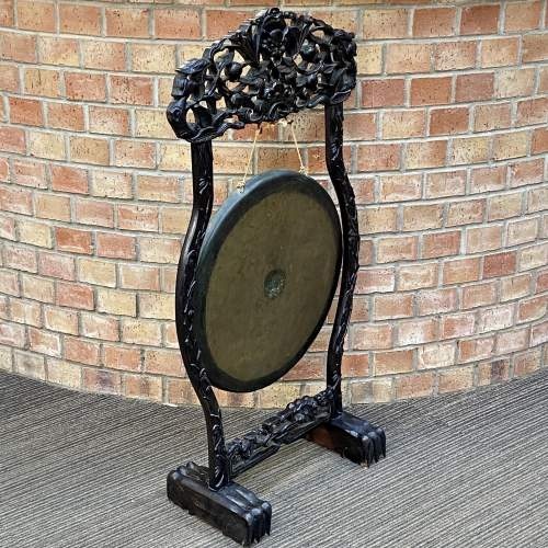 Antique Chinese Gong with Carved Hardwood Stand image-2