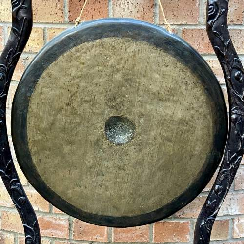Antique Chinese Gong with Carved Hardwood Stand image-5