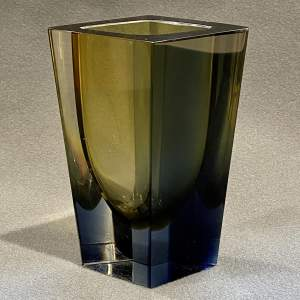 Kaj Franck Olive and Blue Cased Prisma Vase