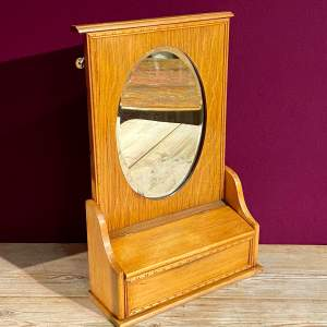 Edwardian Golden Oak Hall Mirror