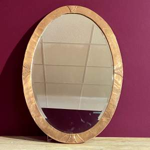 Arts and Crafts Copper Oval Hall Mirror