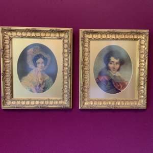 Pair of Mid Victorian Portrait Paintings