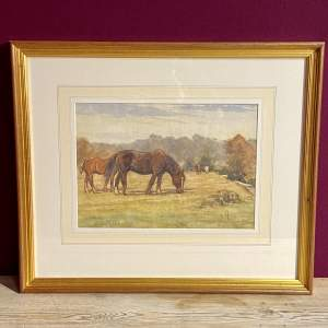 Grazing Horses Watercolour by James William Booth RCA