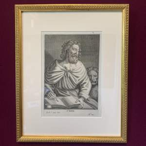 17th Century Engraving of St Mark Signified by a Lion