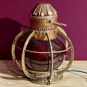 Vintage Brass and Copper Ships Lamp
