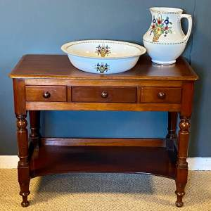 Victorian Mahogany Wash Stand with Jug and Bowl