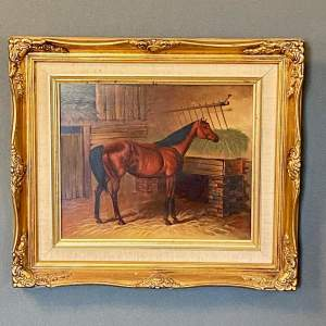 20th Century Horse in a Stable Oil on Board