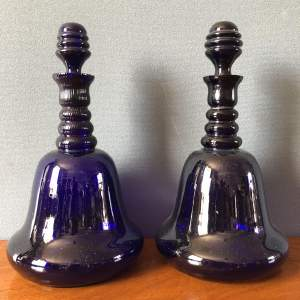 Pair of Antique Bristol Blue Glass Decanters