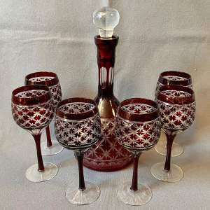 Ruby Flash Cut Crystal Decanters and 6 Wine Glasses