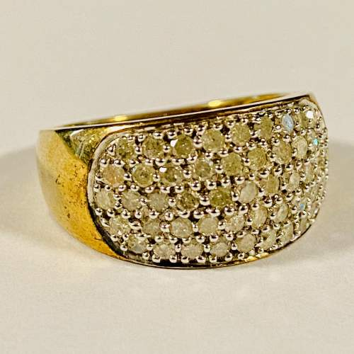 Heavy 9ct Gold and 1 Carat of Diamonds Ring image-1