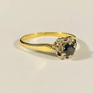 18ct Gold Diamond Sapphire Ring