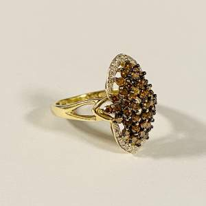 14ct Gold Champagne and White Coloured Diamond Ring