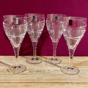Set of Four Rockingham Cut Crystal Wine Glasses