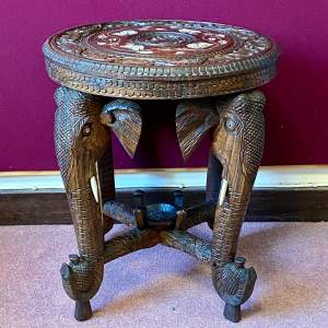 Anglo Indian Side Table With Elephants Head Legs
