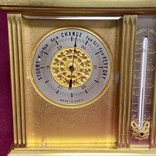 Early 20th Century Clock Barometer Thermometer Compass Set image-2