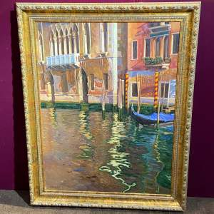 Large Attractive 20th Century Oil on Canvas Venetian Scene