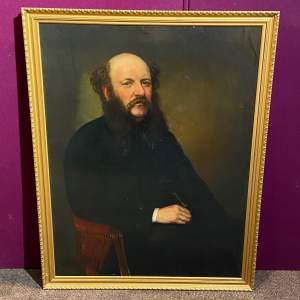Large 19th Century Oil on Canvas Portrait of a Seated Gentleman