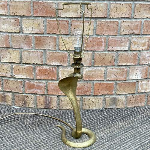 Early 20th Century Etched Brass Cobra Lamp image-1