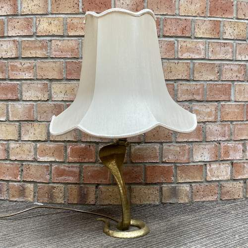 Early 20th Century Etched Brass Cobra Lamp image-2