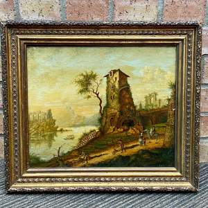 Early 19th Century Well Detailed Oil on Panel of a River Crossing