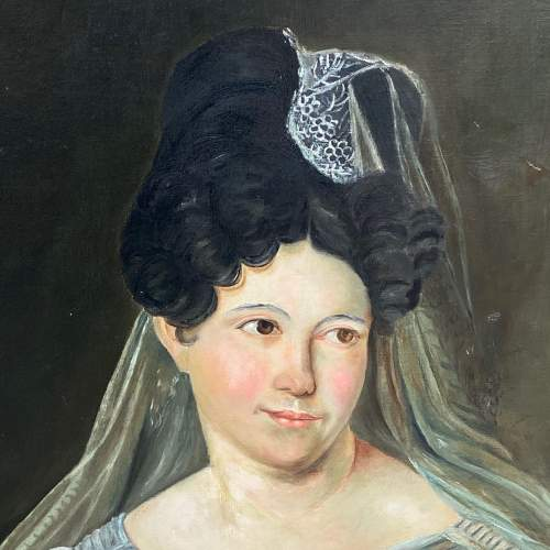 19th Century French Oil on Canvas Portrait of a Young Woman image-2